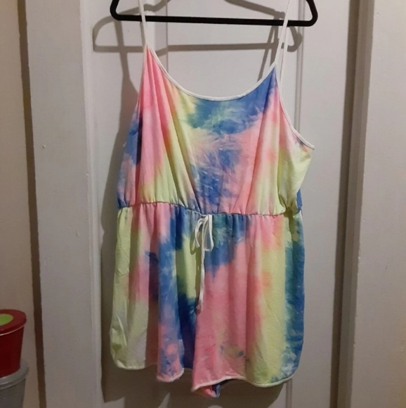 SOLD: Super Soft Pastel Tie Dye Cami Romper 4XL